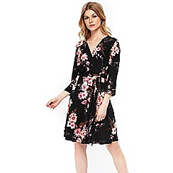 Wallis - Petite black floral print fit and flare dress