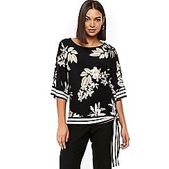 Wallis - Neutral floral stripe top