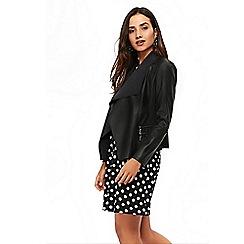 Wallis - Petite black double zip waterfall jacket