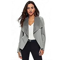 Wallis - Petite grey double zip waterfall jacket