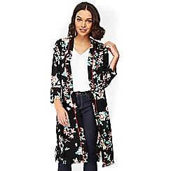 Wallis - Petite black oriental longline jacket