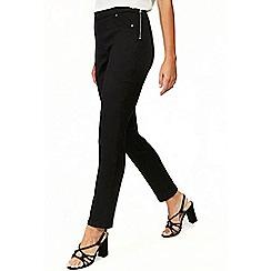 Wallis - Petite black side zip trousers