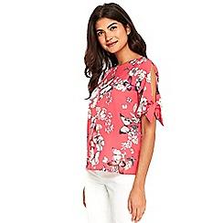 Wallis - Petite pink butterfly tie sleeves top