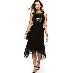 Wallis - Petite black embellished asymmetric fit and flare dress