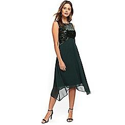 Wallis - Petite green embellished asymmetric dress