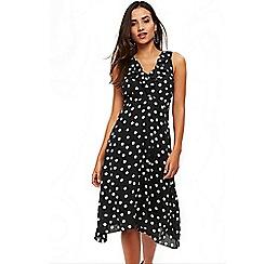 Wallis - Petite black polka dot midi fit and flare dress