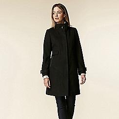 Wallis - Petite black funnel neck coat