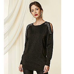 Wallis - Petite black embellished cold shoulder jumper