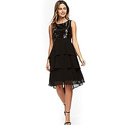 Wallis - Petite black sequin tiered hem dress