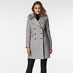 Wallis - Petite grey faux fur military coat