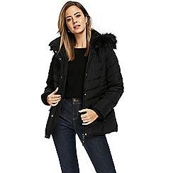 Wallis - Petite black short padded coat