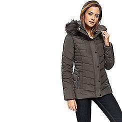 Wallis - Petite grey short padded coat