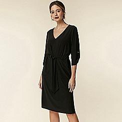 Wallis - Petite black tie waist dress