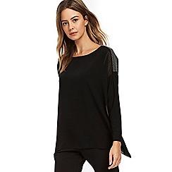 Wallis - Petite black embellished overlay blouse