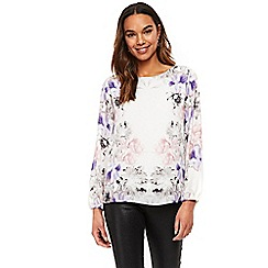 Wallis - Petite cream violet mirror floral top