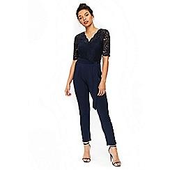 Wallis - Petite navy lace top jumpsuit