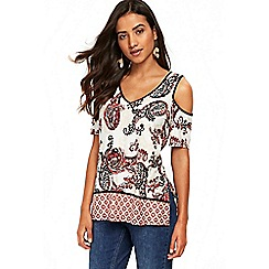 Wallis - Petite cream paisley cold shoulder top