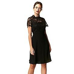 Wallis - Petite black lace fit and flare dress