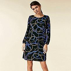 Wallis - Petite black chain print swing dress