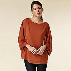 Wallis - Petite rust layered blouse