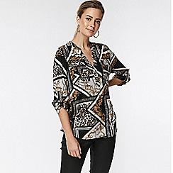 Wallis - Petite black animal patchwork shirt