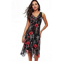 Wallis - Petites black floral dress
