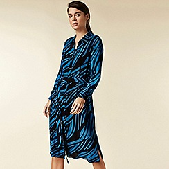 Wallis - Petite blue zebra print shirt dress