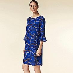 Wallis - Petite blue chain print flute sleeve dress