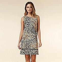 Wallis - Petite Stone Animal Print Pinafore Dress