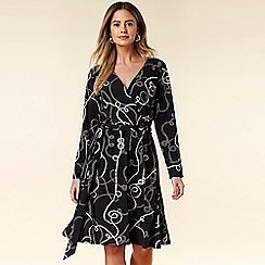 Wallis - Petite Navy Chain Print Wrap Dress