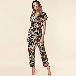 Wallis - Petite Black Tropical Print Jumpsuit