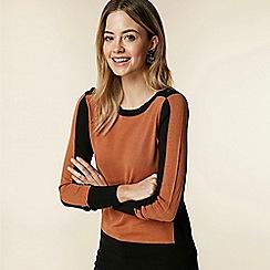 Wallis - Petite brown colour block jumper