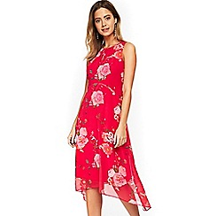 Wallis - Petite pink floral print fit and flare dress