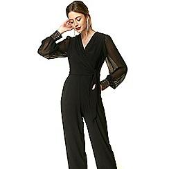 Wallis - Petite black embellished cuff jumpsuit