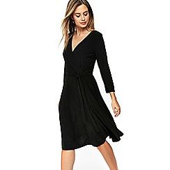 Wallis - Petite black wrap dress