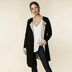Wallis - Petite black contrast coatigan