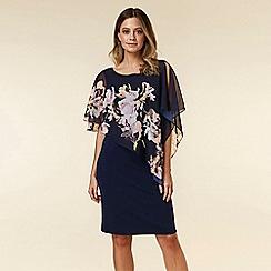 Wallis - Petite Navy Floral Print Overlay Dress