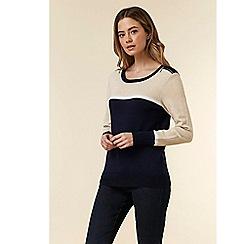 Wallis - Petite navy zip shoulder jumper