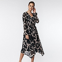 Wallis - Petite black animal print midi fit and flare dress