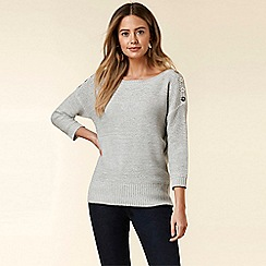 Wallis - Petite Grey Button Shoulder Jumper