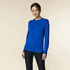 Wallis - Petite blue scallop neck jumper
