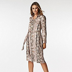Wallis - Petite stone snake print shirt dress