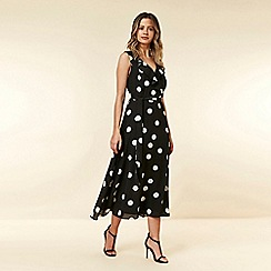 Wallis - Petite Black Spot Swing Dress