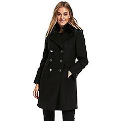 Wallis - Petite black fur collar double coat