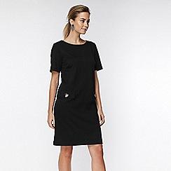 Wallis - Petite black button pocket dress