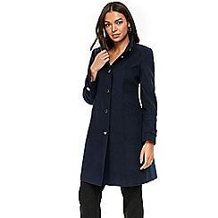Wallis - Petite navy faux wool funnel neck coat