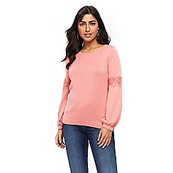 Wallis - Petite coral lace sleeve blouse