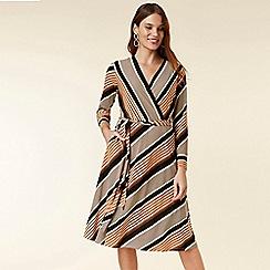 Wallis - Petite stone striped asymmetric fit and flare dress