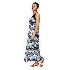 Wallis - Petite blue geometric print maxi dress