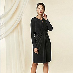 Wallis - Petite black slinky twist shift dress